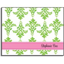 Stationery Collection Green Damask Folded Notes