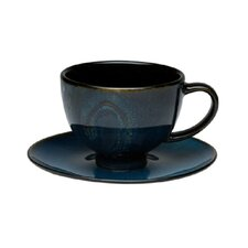 Organic Blue 8 oz. Tea Cup and Saucer Set (Set of 4)