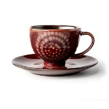 Organic Brown 8 oz. Tea Cup and Saucer Set (Set of 4)