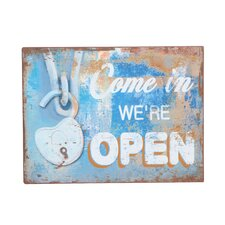'...We're Open' Vintage Advertisement Plaque