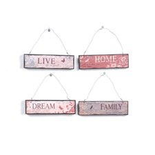 Wood Wall Plaque with Words (Set of 4)