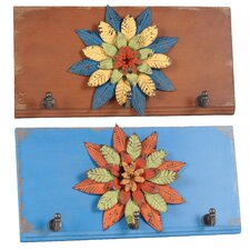 Flower Metal 2 Wall Hooks (Set of 2)