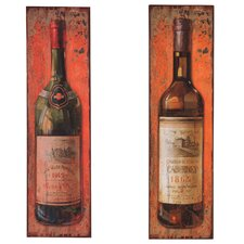 Wine Bottle Metal Plaque (Set of 2)
