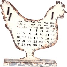 Rooster Metal Calendar Decor