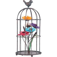 Birdcage / Flowers Table Decor Statue