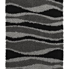 Vista Black/Grey Shaggy Rug