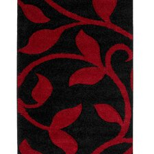 Fashion Carving Black/Red Rug