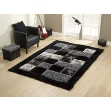 Noble House Black Tufted Shaggy Rug