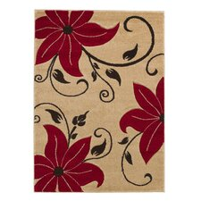 <strong>Think Rugs</strong> Verona Beige/Red Hand Carved Rug