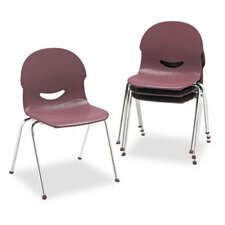 IQ Plastic Stack Chair, Wine, Chrome Frame, Four/Carton