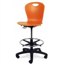 Height Adjustable Lab Stool with Lumbar Support