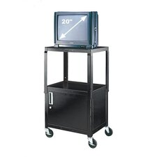 Adjustable Height Utility Cart with Locking Cabinet