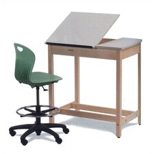 Natural Wood Drafting Table