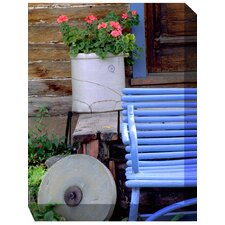 <strong>West of the Wind Outdoor Canvas Art</strong> Blue Bench and Crock Outdoor Canvas Art