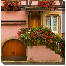 Pink House and Flowers Photographic Print on Canvas