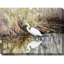 Egret Watercolor Outdoor Canvas Art