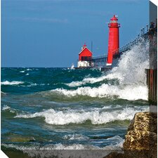 Red Lighthouse Photographic Print on Canvas