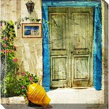 <strong>West of the Wind Outdoor Canvas Art</strong> Grecian Stoop Art Painting