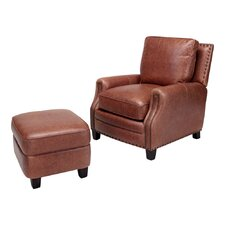 <strong>Opulence Home</strong> Bradford Leather Chair and Ottoman