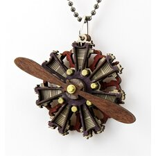 Wood Radial Two Propellar Engine Pendant