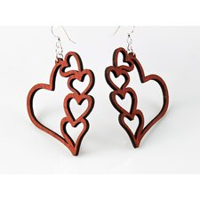 <strong>Green Tree Jewelry</strong> Heart With Hearts Earrings