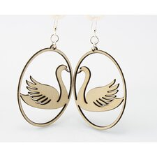 Swan in Oval Earrings