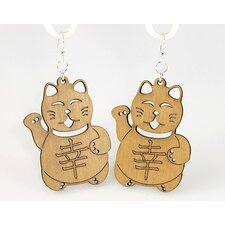 <strong>Green Tree Jewelry</strong> Lucky Cats Earrings