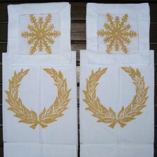 <strong>Lowcountry Linens</strong> Wreath Guest Towel and Snowflake Cocktail Napkin Set