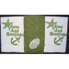 Seas and Greetings Guest Towel and Pine Cone Cocktail Napkin Set