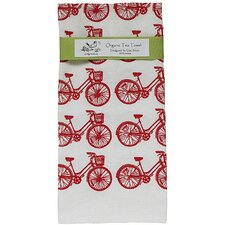 <strong>Artgoodies</strong> Organic Bike All Over Pattern Block Print Tea Towel