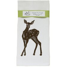 Organic Deer Block Print Tea Towel