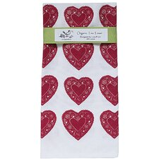 Organic Heart All Over Pattern Block Print Tea Towel