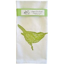 Organic Wren Block Print Tea Towel