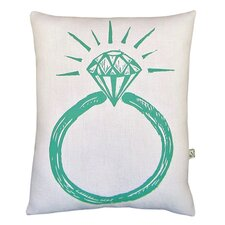 Ring Reversible Lumbar Pillow in White & Aqua