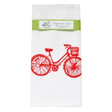 Organic Bike Block Print Tea Towel