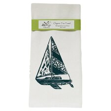 Organic Sailboat Block Print Tea Towel