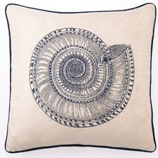 Trochus Down Filled Embroidered Linen Pillow