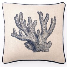 Staghorn Coral Down Filled Embroidered Linen Pillow
