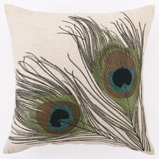 Double Peacocks Down Filled Embroidered Linen Pillow