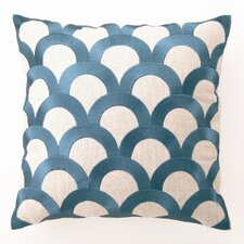 Scales Down Filled Embroidered Linen Pillow
