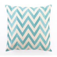 Zig Zag Down Filled Embroidered Linen Pillow