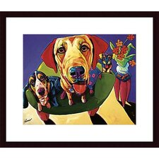 Molly, Moe and Jack Wood Framed Art Print