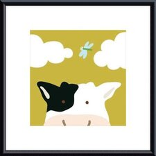 Peek-a-Boo III Cow by Yuko Lau Framed Art