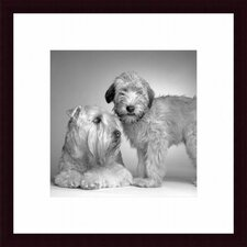 Ruff and Daisy Wood Framed Art Print