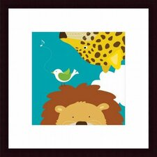 Safari Group: Leopard and Lion Wood Framed Art Print