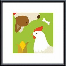 Farm Group: Hen and Dog Metal Framed Art Print