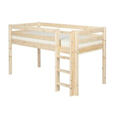 Classic Mid-High Bed with Straight Ladder