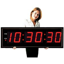 "Giant 8"" Numeral LED Wall Clock with Seconds Display & Remote Control"