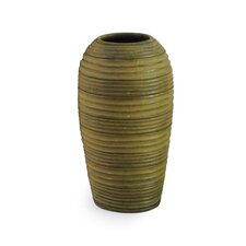 Green Cylinder Striped Vase