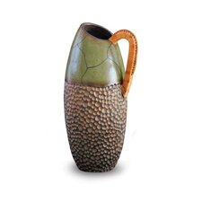 Wicker Handled Green Vase